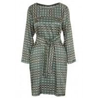 BENSIMON Short belted dress with graphic print Grey VERT Womens Dresses FAPGTPT F06496A31218-0617-VERT