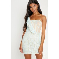 PrettyLittleThing Baby Blue Lace One Shoulder Bodice Detail Bodycon Dress - Baby Blue - Womens Mini Dresses CLX6991