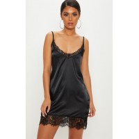 PrettyLittleThing Black Satin Lace Insert Slip Dress | Dresses - Black - Womens Mini Dresses CLY0691