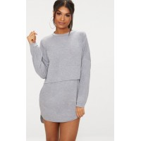 PrettyLittleThing Long Sleeve Jersey Layer T Shirt Dress - Grey - Womens Mini Dresses CLV5073