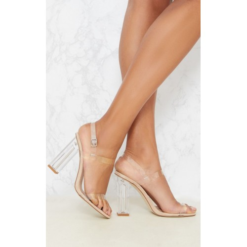 PrettyLittleThing Clear Block Heel Strappy Sandal | Shoes