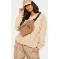 PrettyLittleThing Beige Shearling Bum Bag | Accessories - Beige - Womens Jeans CLY5537
