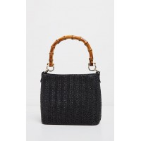 PrettyLittleThing Black Bamboo Handle Raffia Cross Body - Black - Womens Jeans CLY6829
