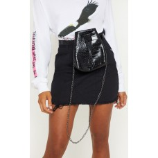 PrettyLittleThing Black Croc Bum Bag Cross Body | Accessories - Black - Womens Jeans CLX9184