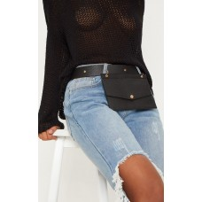 PrettyLittleThing Black Croc Envelope Belted Bum Bag - Black - Womens Jeans CLX9192