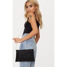 PrettyLittleThing Black Envelope Clutch Bag | Accessories - Black - Womens Jeans CLW0608