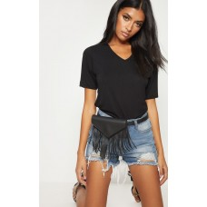 PrettyLittleThing Black Fringe Belt Bag | Accessories - Black - Womens Jeans CLW3350