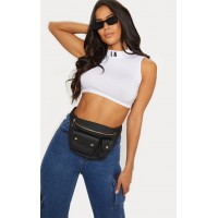PrettyLittleThing Black Pu Double Pocket Bum Bag | Accessories - Black - Womens Jeans CLY6194