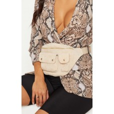 PrettyLittleThing Cream Corduroy Double Pocket Bum Bag - Cream - Womens Jeans CLY4841