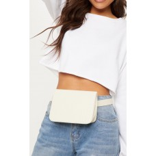 PrettyLittleThing Cream Croc Belted Bum Bag | Accessories - Cream - Womens Jeans CLY3926