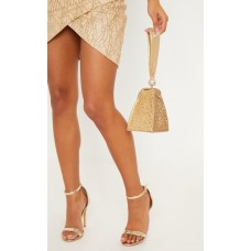 PrettyLittleThing Gold Diamante Pyramid Mini Bag | Accessories - Gold - Womens Jeans CLZ7701