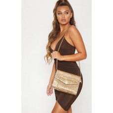 PrettyLittleThing Gold Metallic Croc Print Cross Body Bag - Gold - Womens Jeans CLY3951