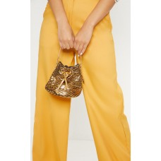PrettyLittleThing Gold Mini Drawstring Pouch Bag | Accessories - Gold - Womens Jeans CLZ5039
