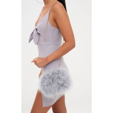 PrettyLittleThing Grey Marabou Feather Clutch Bag. Accessories - Grey - Womens Jeans CLT1562