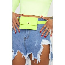 PrettyLittleThing Lime Patent Mini Envelope Belted Bum Bag - Lime - Womens Jeans CLY4834