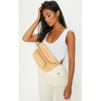 PrettyLittleThing PRETTYLITTLETHING Beige Embroidered Faux Suede Bum Bag - Beige - Womens Jeans CLX5811