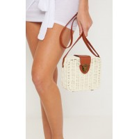 PrettyLittleThing Straw Box Cross Body Bag | Accessories - Tan - Womens Jeans CLX5831