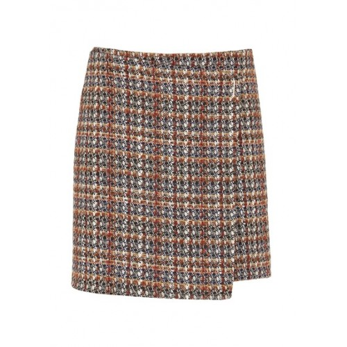 CAROLL Short tweed wrap skirt Blue ECUREUIL FANTAISIE Women Skirts IALTRTQ KB011-LEANE-89F-ECUREUIL FANTAISIE