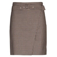 CAROLL Straight-cut checked wrap skirt with removable belt Blue MOKA FANTAISIE Women Skirts TAMVQEB KB055-MARION-59F-MOKA FANTAISIE