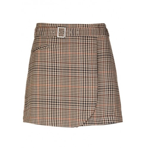 KARL MARC JOHN Short checked wrap skirt Beige SABLE Women Skirts WTHQOXV 1076-JILIA-SABLE-SABLE