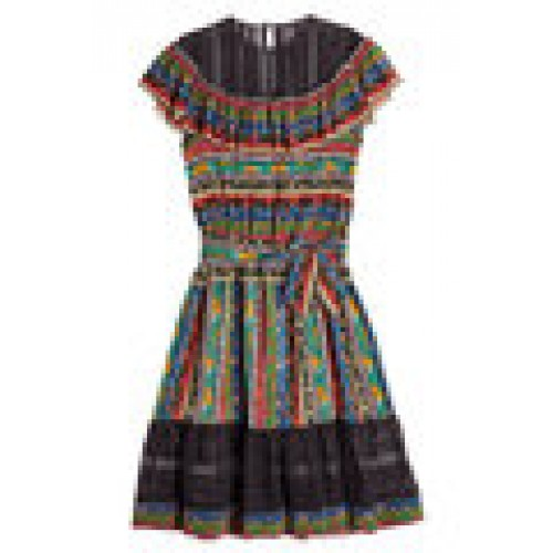 Dsquared2 Printed Silk Dress with Lace Details multicolored 262702