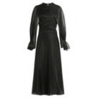 Maison Margiela Silk Satin Dress with Chiffon Sleeves black 259675