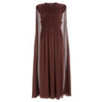 Midi-Length Pleated Silk Dress with Cape brown 247999