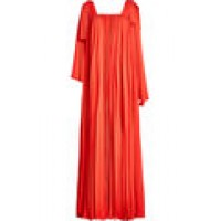 Pleated Crepe Maxi Dress red 262594