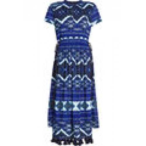 Printed Dress with Drawstring Waist blue 265446