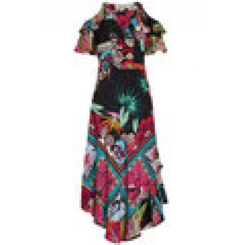 Printed Silk Dress with Cut-Out Shoulders multicolored 260881