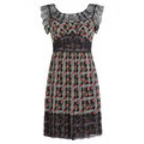 Printed Silk Dress with Lace Trim multicolored 237910