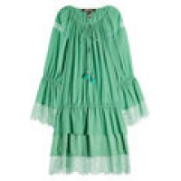 Sergio Rossi Cotton and Silk Blend Dress with Lace Hem green 261602