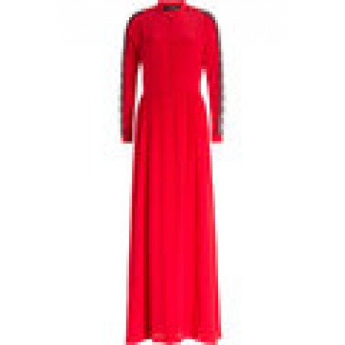 Sergio Rossi Floor Length Silk Dress wth Lace red 247943