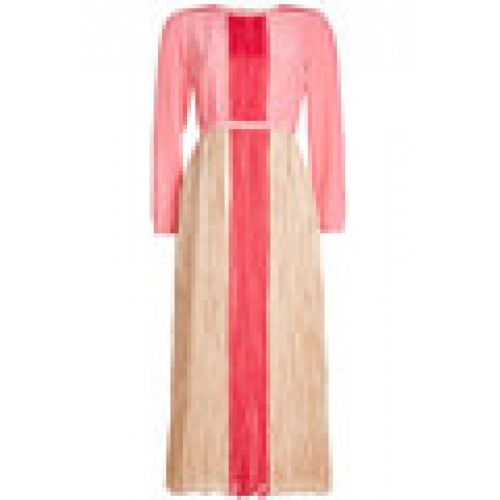 Silk Dress with Pleated Detail magenta 262543