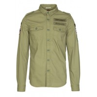 SUPERDRY Cotton shirt with classic collar and embroidered patches Green HAY GREEN Men Shirts TMHIFRA M40000EQ-PX4-HAY GREEN