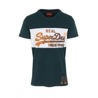 SUPERDRY Regular-fit round-neck cotton T-shirt Blue HIGHLAND GREEN/ICE MARL Men T-shirts LOWTJAJ M10020SR-ZR5-HIGHLAND GREEN/ICE MARL