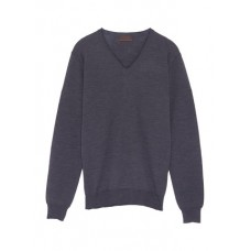 ALTEA 布饰拼贴V领初剪羊毛针织衫 FZEPBIS Men Knitwears & Sweatshirts