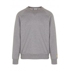 CARHARTT WIP Regular-fit cotton sweatshirt with round neck Grey DARK GREY HEATHER / GOLD Men Knitwears & Sweatshirts MQWPYEF I026383-ZM90-Dark Grey Heather / Gold