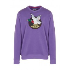 CHEVIGNON Round-neck cotton sweatshirt with embroidered patch Purple ULTRAVIOLET Men Knitwears & Sweatshirts AMTVFMD JHCSC005-0882-ULTRAVIOLET