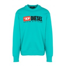DIESEL Regular-fit round-neck cotton sweatshirt with screen print Green 330 - LIGHT/GREEN Men Knitwears & Sweatshirts QXBINEN 00SHEP-0CATK-5HY-330 - LIGHT/GREEN